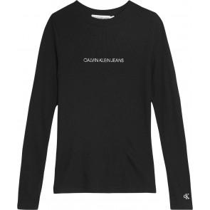 Calvin Klein kids girls logo rib top longsleeve in de kleur zwart