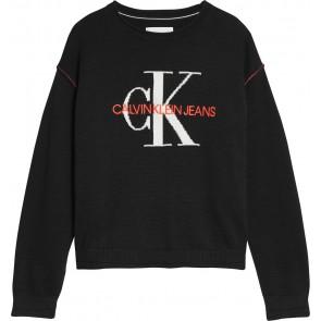 Calvin Klein kids girls fijngebreide monogram logo sweater in de kleur zwart