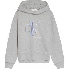 Calvin Klein kids girls seasonal monogram hoodie in de kleur grijs