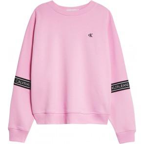 Calvin Klein kids girls logo tape sweatshirt sweater trui in de kleur lichtroze