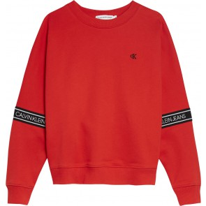 Calvin Klein kids girls logo tape sweatshirt sweater trui in de kleur rood