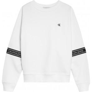 Calvin Klein kids girls logo tape sweatshirt sweater trui in de kleur wit