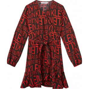 Calvin Klein kids girls distorted logo dress jurk in de kleur zwart/rood