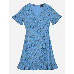 Nik en Nik kids girls jurk Bracha dress met bloemenprint in de kleur fresh blue