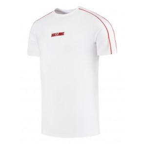 Malelions kids logo t-shirt met rode bies in de kleur wit