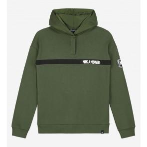 Nik en Nik boys Melvin hoodie sweater trui in de kleur dark moss green groen