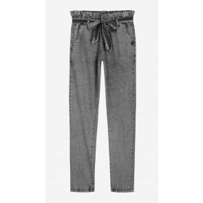 Nik en Nik girls lange paperbag pants broek in de kleur stonewash grey grijs