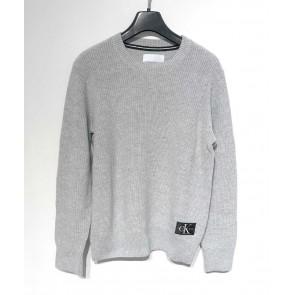Calvin Klein kids boys gebreide trui regular crew sweater in de kleur lichtgrijs