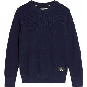 Calvin Klein kids boys gebreide trui regular crew sweater in de kleur donkerblauw