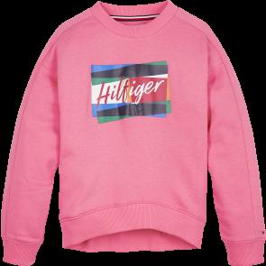 Tommy Hilfiger kids girls sweater trui fun flag crew sweatshirt in de kleur roze