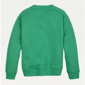 Tommy Hilfiger kids girls  fun flag crew sweatshirt in de kleur cosmic green groen