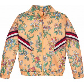 Tommy Hilfiger kids girls floral tape track top sweatvest in de kleur sweet melon multicolor