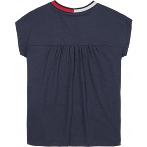 Tommy Hilfiger kids girls t-shirt mesh top in de kleur donkerblauw