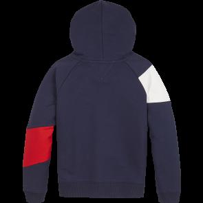 Tommy Hilfiger kids girls flag blocking hoodie sweater trui in de kleur donkerblauw