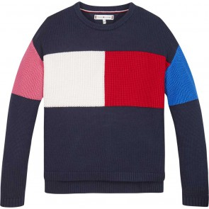 Tommy Hilfiger kids girls gebreide colorblock flag sweater trui in de kleur multicolor