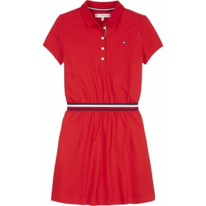 Tommy Hilfiger kids girls global stripe polo dress jurk in de kleur rood