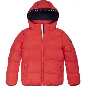 Tommy Hilfiger kids boys padded reflective jacket winterjas in de kleur rood