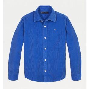 Tommy Hilfiger kids boys fijne ribcord blouse in de kleur kobalt blauw