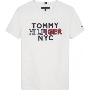 Tommy Hilfiger kids boys graphic t-shirt met logo print in de kleur wit