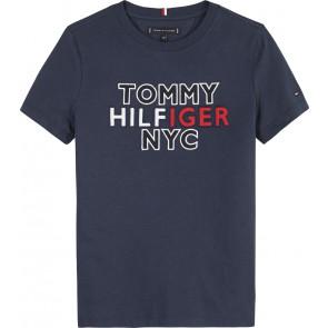 Tommy Hilfiger kids boys graphic t-shirt met logo print in de kleur donkerblauw