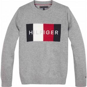 Tommy Hilfiger kids boys fijngebreide logo sweater in de kleur grijs