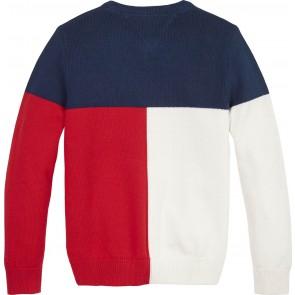 Tommy hilfiger kids boys colorblock gebreide sweater trui in de kleur rood/blauw/wit