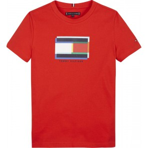 Tommy hilfiger kids boys bright flag graphic tee t-shirt in de kleur rood