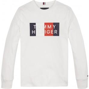 Tommy Hilfiger kids boys global stripe graphic longsleeve shirt in de kleur wit