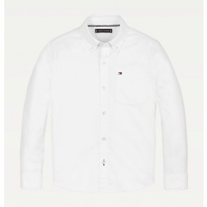 Tommy Hilfiger kids boys back detail stretch oxford blouse in de kleur wit