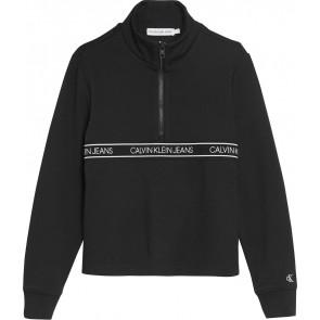 Calvin Klein kids girls logo waistband zip sweater in de kleur zwart
