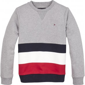 Tommy Hilfiger kids boys global stripe colorblock sweater trui in de kleur grijs