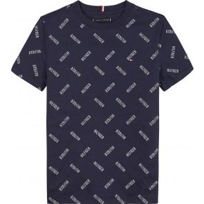 Tommy Hilfiger kids boys t-shirt met all over print in de kleur donkerblauw