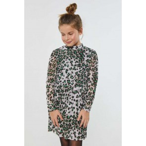AI&KO girls Mirlina leopard dress jurk in de kleur groen