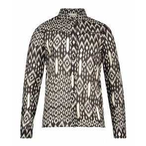 AI&KO girls Finou Ikat blouse met print in de kleur zwart/off white