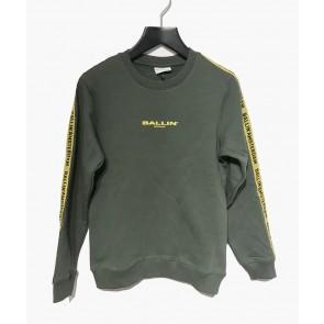 Ballin Amsterdam sweater trui met logo bies in de kleur army green groen