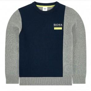 Hugo Boss kids boys fijngebreide trui van katoen in de kleur grijs/blauw