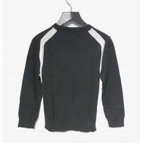 Hugo Boss kids fijngebreide trui van katoen met witte bies in de kleur zwart
