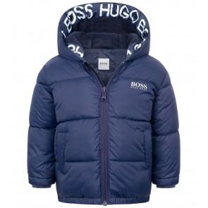 Hugo Boss kids boys winterjas met logo capuchon thermolite ecomode in de kleur donkerblauw