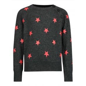 Zadig en Voltaire girls fijngebreide trui met sterremprint en cashmere in de kleur antraciet grijs