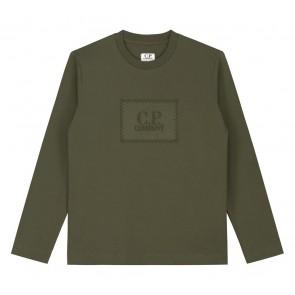 CP Company undersixteen kids longsleeve shirt met logo print in de kleur army green groen