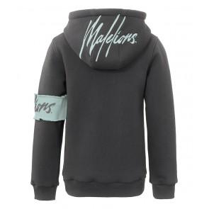 Malelions kids boys captain hoodie sweater trui met logo band in de kleur antraciet grijs