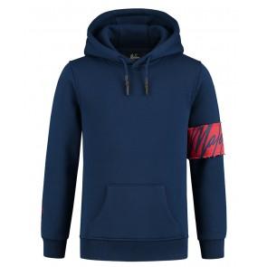 Malelions kids boys captain hoodie sweater trui met logo band in de kleur blauw
