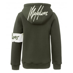 Malelions kids boys captain hoodie sweater trui met logo band in de kleur army green groen