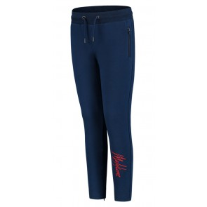 Malelions kids junior trackpants signature sweatbroek in de kleur blauw