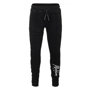 Malelions kids junior trackpants signature sweatbroek in de kleur zwart