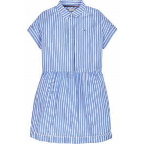 Tommy Hilfiger kids girls striped ladder dress jurk in de kleur lichtblauw