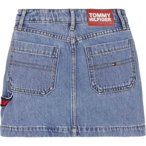 Tommy Hilfiger kids girls carpenter denim skirt americana color block in de kleur jeansblauw