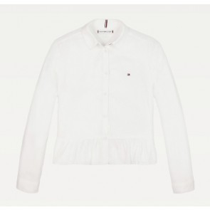 Tommy Hilfiger kids girls peplum viscose blouse in de kleur off white