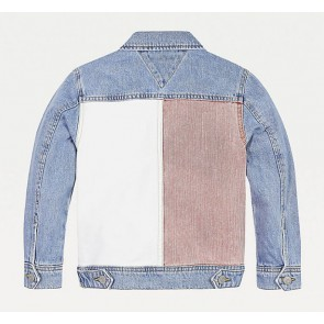Tommy Hilfiger kids girls spijkerjas trucker jacket color block americana in de kleur jeansblauw