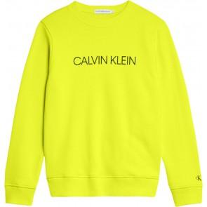 Calvin Klein kids boys institutional logo sweatshirt sweater trui in de kleur safety yellow geel